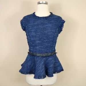 Rebecca Taylor Blue Tweed + Leather Peplum Top